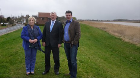 East Riding of Yorkshire councillors Caroline Fox, John Barrett and Andrew on the bank at Reedness