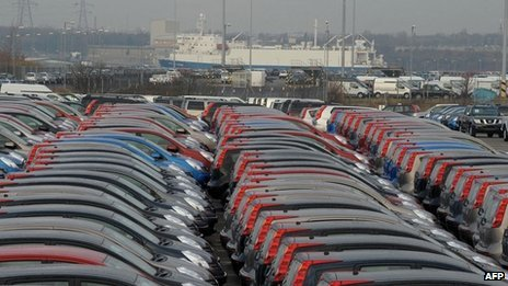 Nissan cars waiting to be exported at docks in South Shields