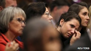 Oscar Pistorius' sister Aimee cries during the athlete's evidence in court - 9 April 2014