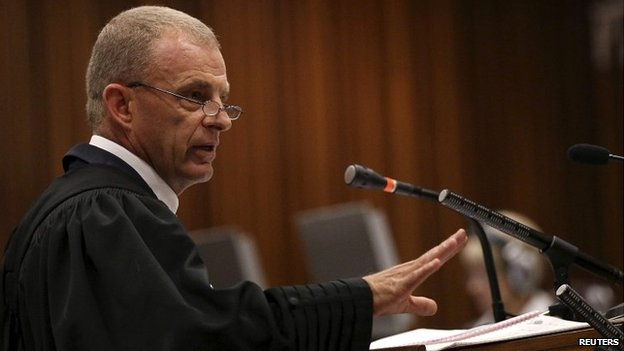 State prosecutor Gerrie Nel cross-examines Oscar Pistorius during the trial in Pretoria - 9 April 2014