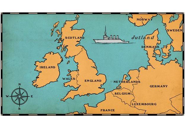 map of uk and europe showing where the battle of jutland took place