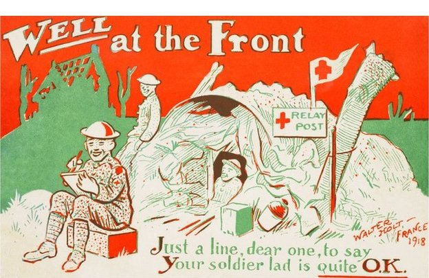 """Colour Christmas postcard from the front line reads: """"Well at the front. Just a line, dear one, to say, your solider lad is quite OK."""""""