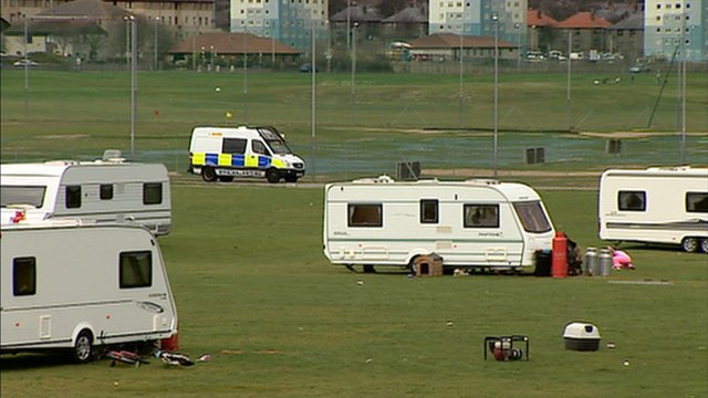 Traveller camp in Aberdeen