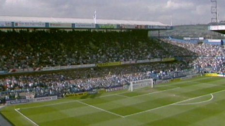 The Leppings Lane End at Hillsborough during the 1989 FA Cup semi-final