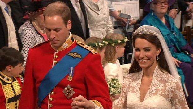 The Duke and Duchess of Cambridge walking down the aisle in Westminster Abbey