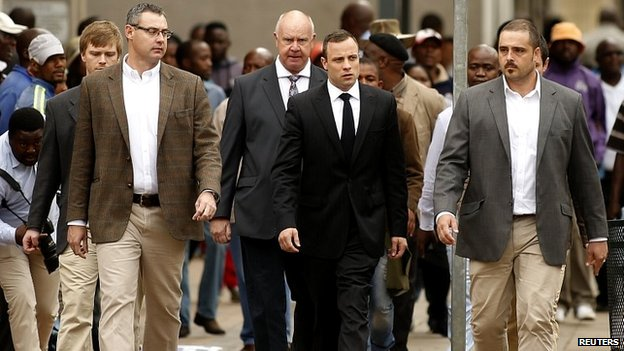 Mr Pistorius arriving at the court in Pretoria on Wednesday morning - 9 April 2014