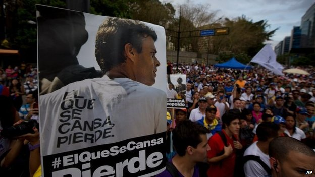 A poster of jailed opposition leader Leopoldo Lopez at a protest to demand his freedom in Caracas, Venezuela, on 4 April, 2014