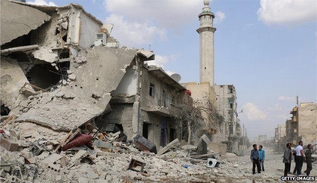 A building destroyed to rumble in Aleppo, Syria