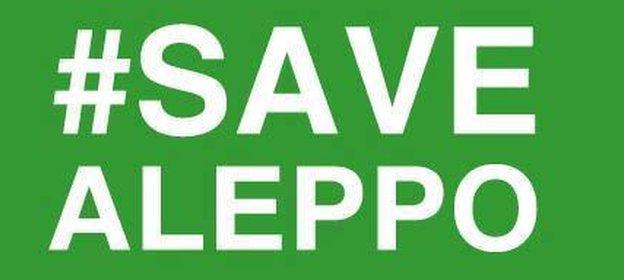 """The """"Save Aleppo"""" campaign sign"""