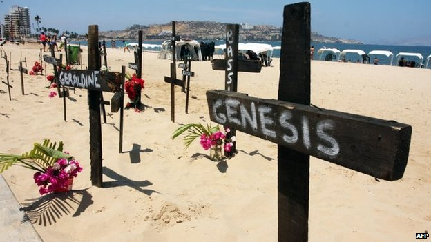 Several crosses are placed on the beach in protest for students killed during demonstrations in Puerto la Cruz on 1 March, 2014