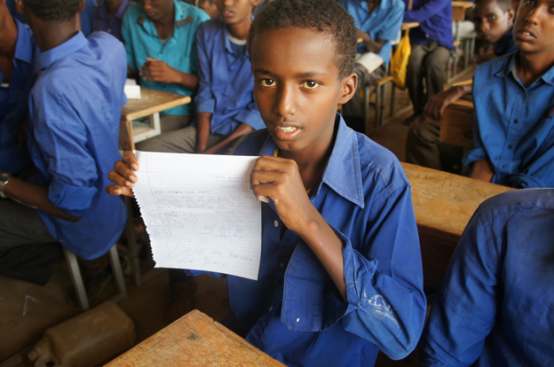 Dahir Mohamed holds up his letter