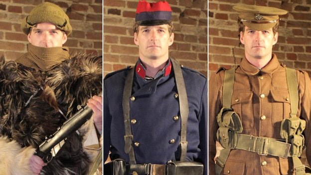 Dan Snow in various WW1 soldier uniforms