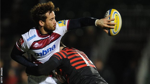 Danny Cipriani offloads under pressure against Saracens