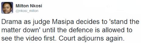 Tweet by the BBC's Milton Nkosi