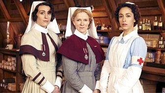 Sister Joan Livesey played by Suranne Jones, Matron Grace Carter played by Hermione Norris and Kitty Trevelyan played by Oona Chaplin