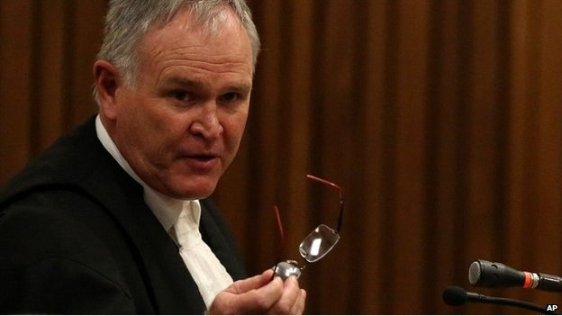 Oscar Pistorius' defence lawyer Barry Roux in court - 9 April 2014