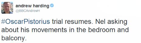 Tweet by the BBC's Andrew Harding