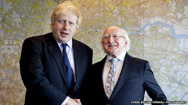 Boris Johnson and Michael D Higgins