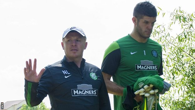 Celtic manager Neil Lennon and goalkeeper Fraser Forster