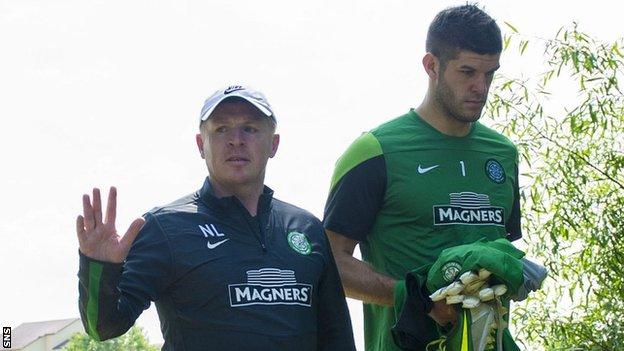 Celtic manager Neil Lennon and goalkeeper Fraser Forster