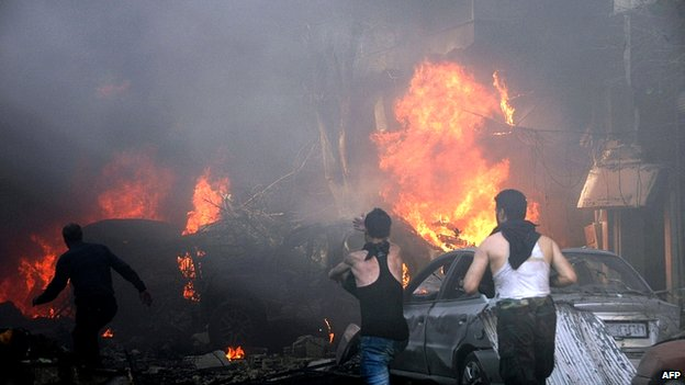 Car bomb in al-Khudary Street in Karam al-Luz district of Homs. 9 April 2014