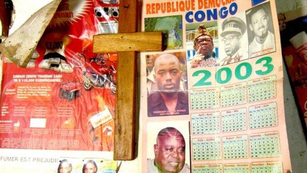 An old calendar of the wall of Jean-Marie's house in Rutshuru, DR Congo