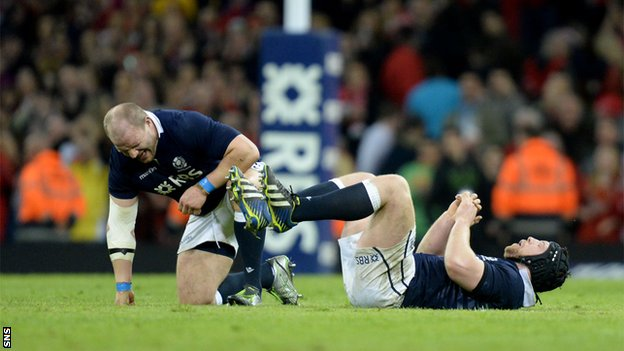 Scotland players Euan Murray and Alasdair Dickinson