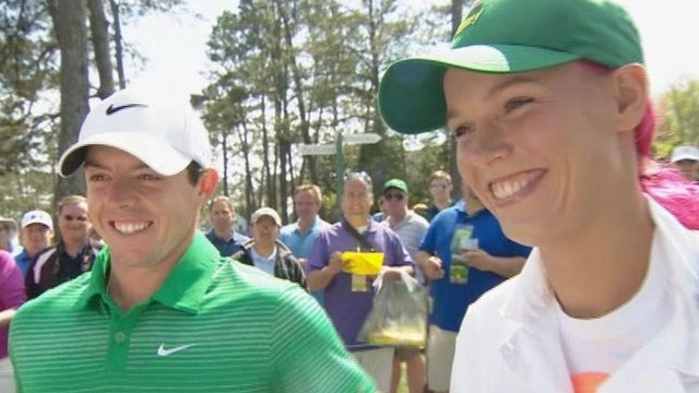 Caroline Wozniacki caddied for boyfriend Rory McIlroy in the Masters Par-Three event on Wednesday