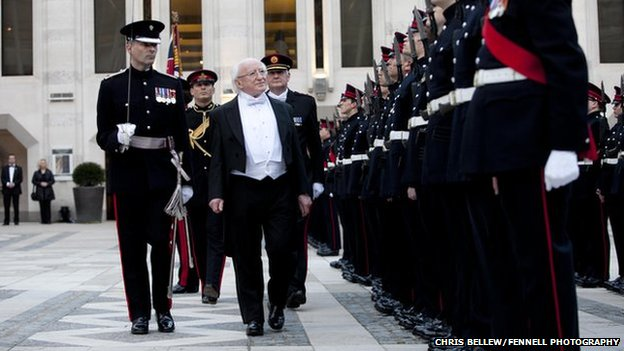 President of Ireland Michael D Higgins inspected a Guard of Honour as he arrived to attend a banquet in his honour at London's Guildhall