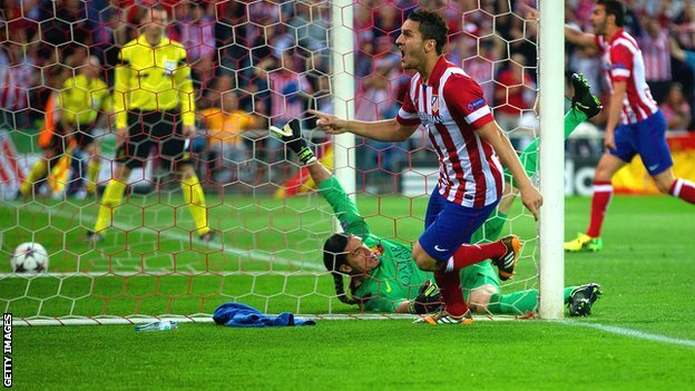 Koke scores for Atletico Madrid v Barcelona