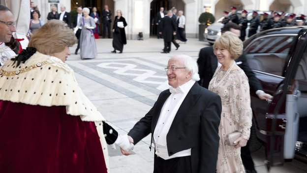 President Higgins was greeted at the Guildhall by Lord Mayor of the City of London, Fiona Woolf
