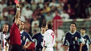 David Beckham is sent off for England against Argentina