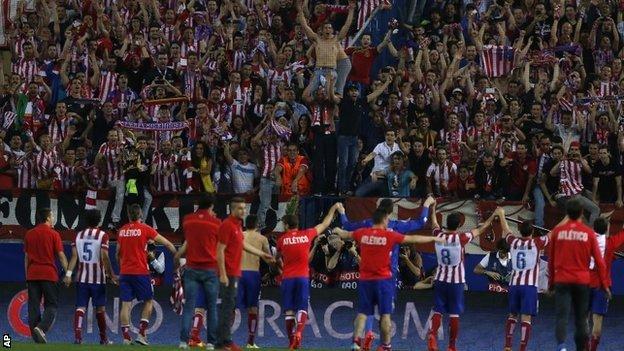 Atletico fans celebrate