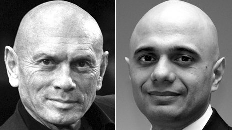 Composite image showing Yul Brynner, left, and Sajid Javid