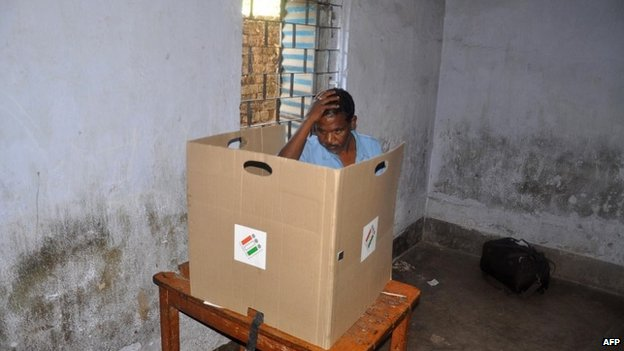 A voter at a polling station in Lohardaga District in Jharkhand on April 10, 2014,