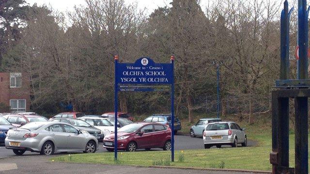 Sign outside Olchfa Comprehensive School in Swansea