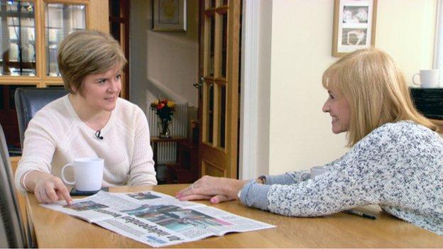 Nicola Sturgeon being interviewed by Jackie Bird