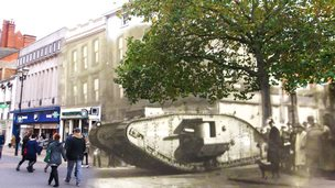 A composite image of a tank and a high street