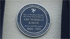 Plaque for Archibald Knox's IoM home