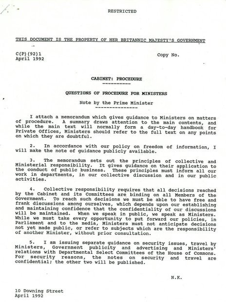 Draft document on procedures for ministers from 1992