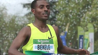 Kenenisa Bekele finishes the Paris Marathon on 6 April in 2:05.04