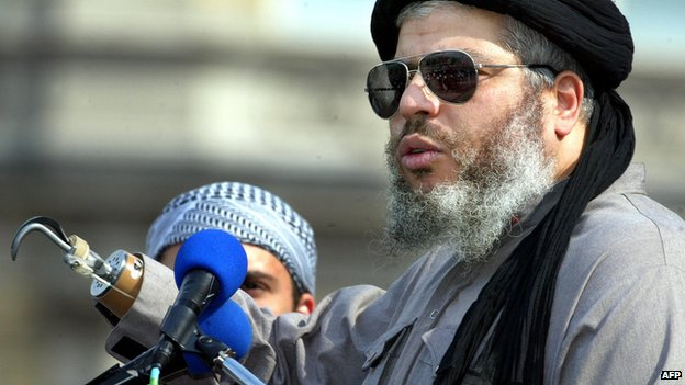 Abu Hamza at the 'Rally for Islam' in London's Trafalgar Square in 2002