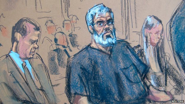 A courtroom sketch of Abu Hamza appearing in a New York court in March 2014