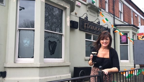Liz Flannelly outside her Coventry pub