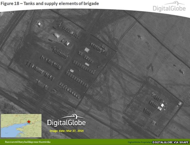 Russian tanks and supply elements of a brigade near Kuzminka, Russia, 27 March 2014