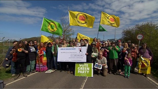 Green Party protest at Hinkley Point April 10 2014