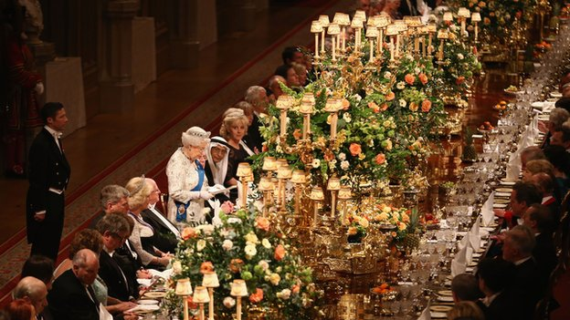 The Queen addressing the banquet at Windsor Castle