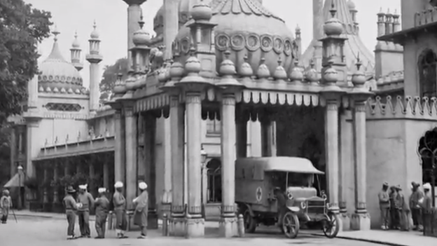 The army standing in front of Brighton's Royal Pavilion