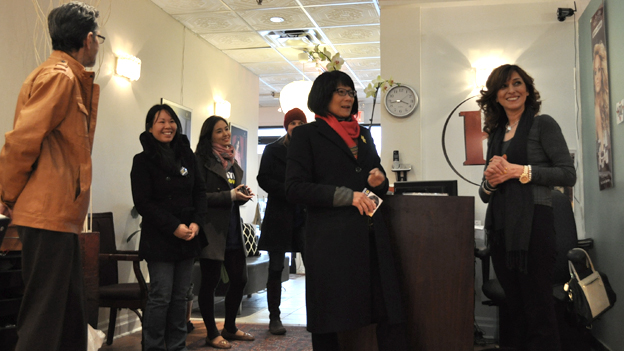 Olivia Chow canvasses voters (3 April 2014)