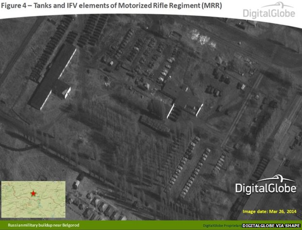This satellite image from 26 March 2014 appears to show tanks and IFV elements of Motorised Rifle Regiment near Belgorod, Russia